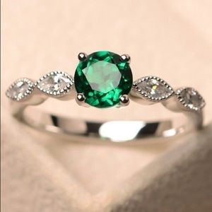 925 Sterling Silver Emerald Sapphire Fashion Ring